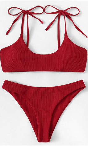 Red Shoulder Bow-Tie Tank Bikini Suits