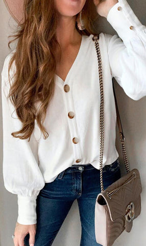 White Chiffon Button Down Shirt