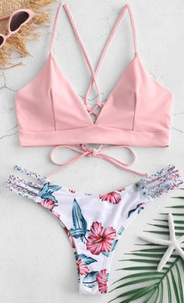 Pink Braided Floral Cheecky Bikini Suits