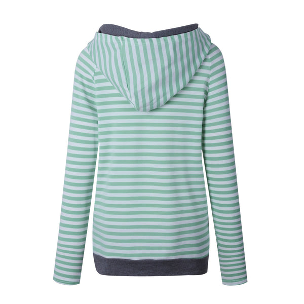 Green Stripe Zipper Hoodie Sweatshirt