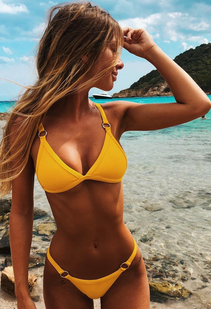Yellow Bandage Triangle Bikini Suits