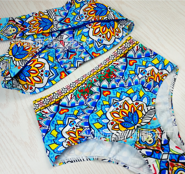 Blue Tribal Print Bikini Suits