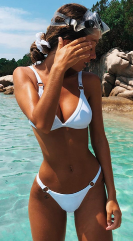 White Bandage Triangle Bikini Suits