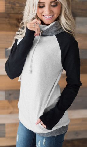 Black Block Zipper Hoodie Sweatshirt