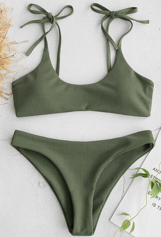 Olive Green Shoulder Bow-Tie Tank Bikini Suits
