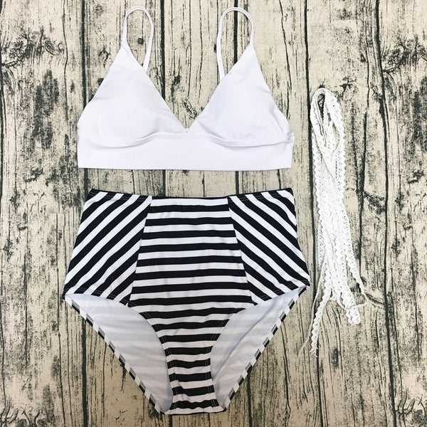 Fashionable Striped High Waisted Bikini