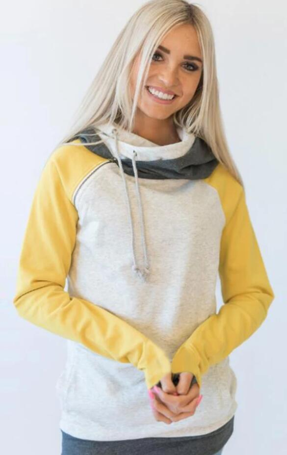 Yellow Block Zipper Hoodie Sweatshirt