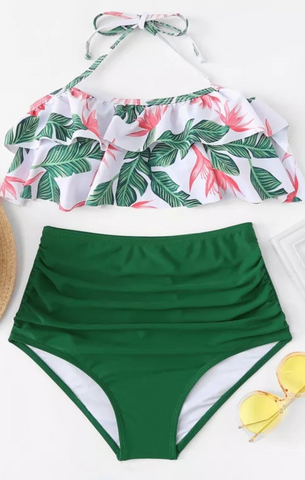 Green Leavy High Waisted Bikini Set