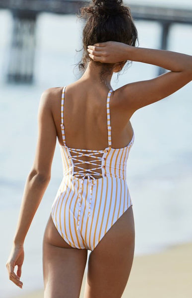 Yellow Stripe Lace Up One-Piece Swimsuits