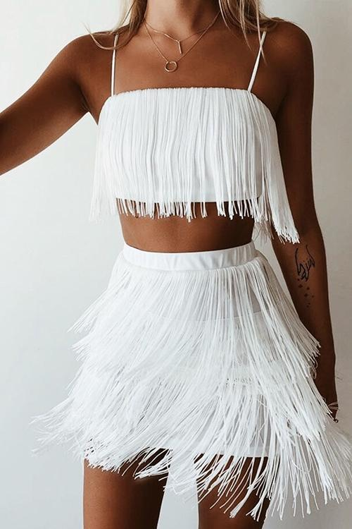 Layer Tassels Skirts Set