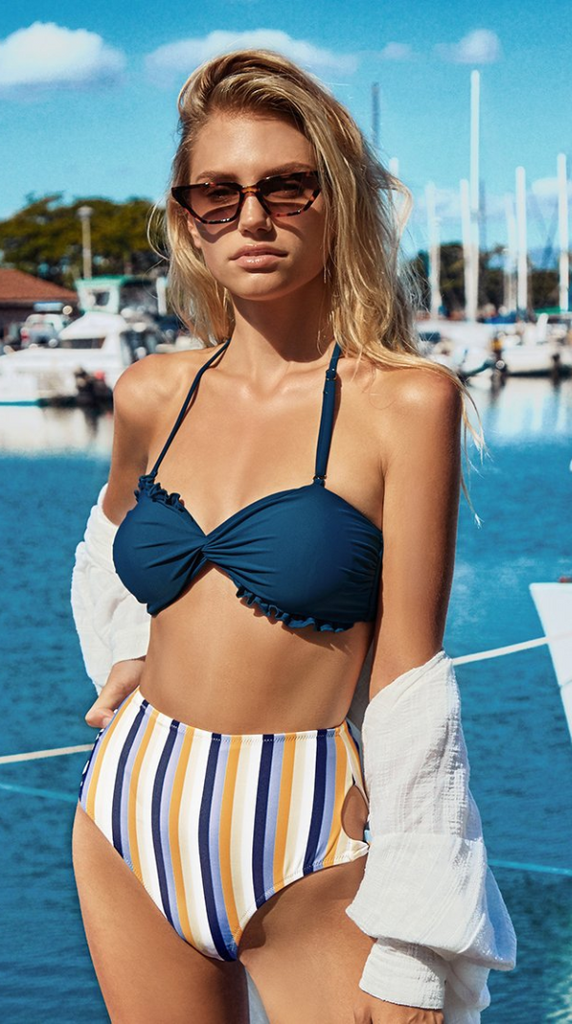 Navy Stripe Print High Waisted Bikini