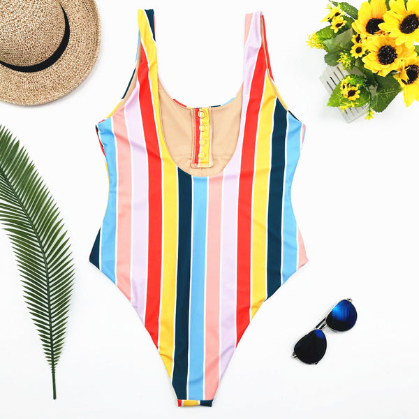Multicolor Striped Buttoned Backless Swimsuit