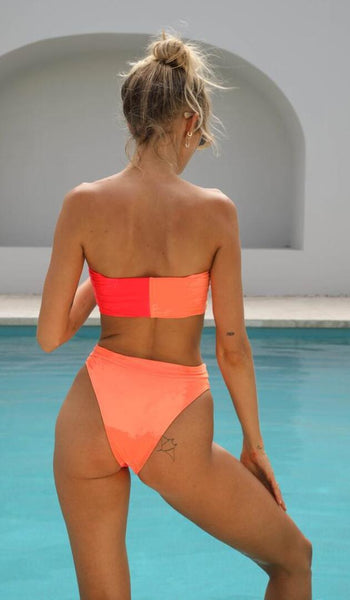 Orange Red Tube Cheecky Bikini Suits