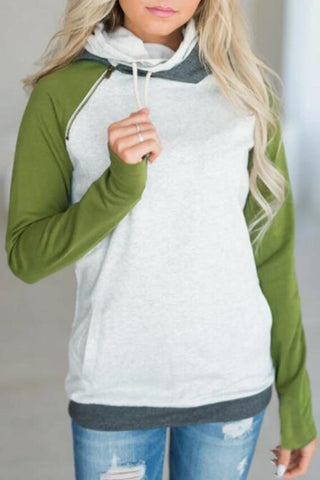 Green Block Zipper Hooded Sweatshirt
