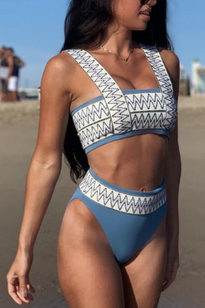 Stripe Patchwotk High Waist Bikini Set