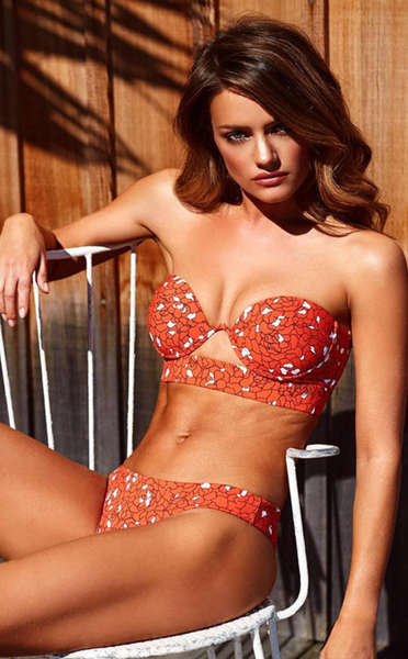 Red Floral Push Up Strapless Bikini Bathing Suits