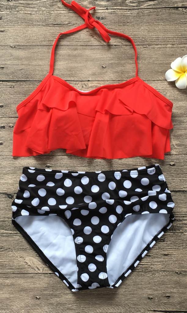 Red Polka Dot Overlay Bikini Sets