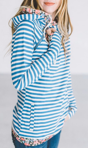 Blue Stripe Zipper Hoodie Sweatshirt