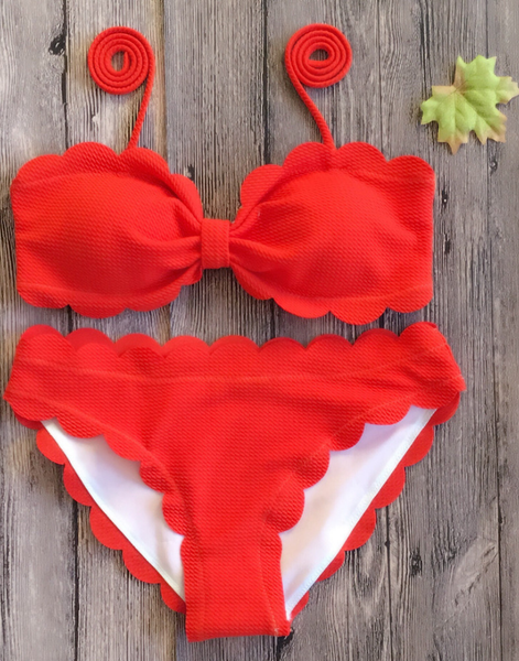 Orange Scallop Ruched Bandeau Bikini Set