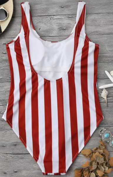 Red Stripe One Piece Swimsuits