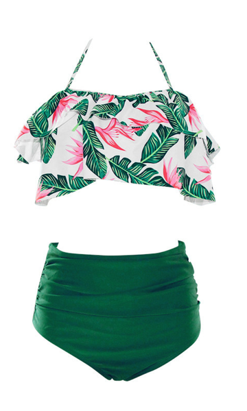 Green Tropical Overlay Bikini Sets