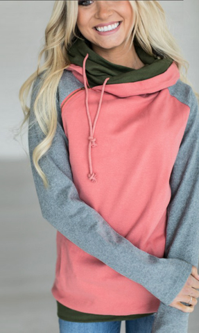 Watermelon Red Zipper Hoodie Sweatshirt