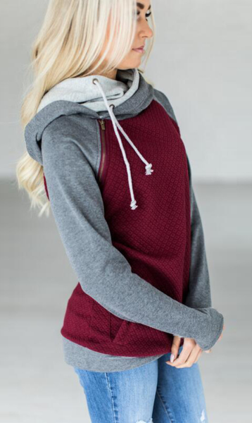 Burgundy Block Zipper Hoodie Sweatshirt