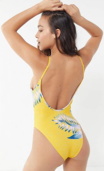 Multicolor Striped Plunging Backless Swimsuit