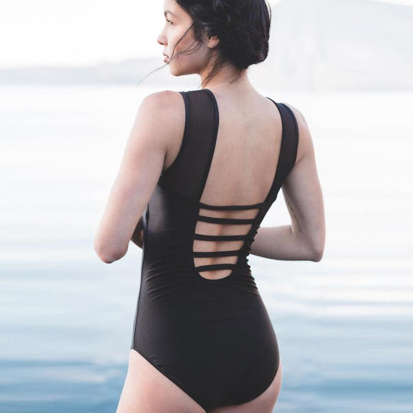 The Maria, Black Mesh One-Piece Swimsuit