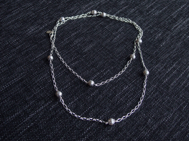 Dew Drop Pearl Silver Chain Necklace
