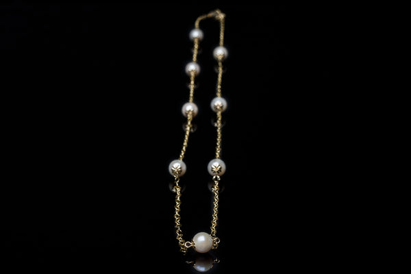 Akoya Pearl Gold Dew Drop Chain