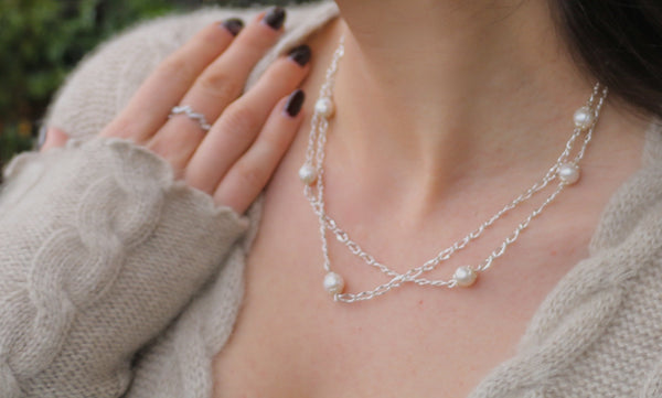 Classic White Dew Drop Pearl Silver Chain Necklace