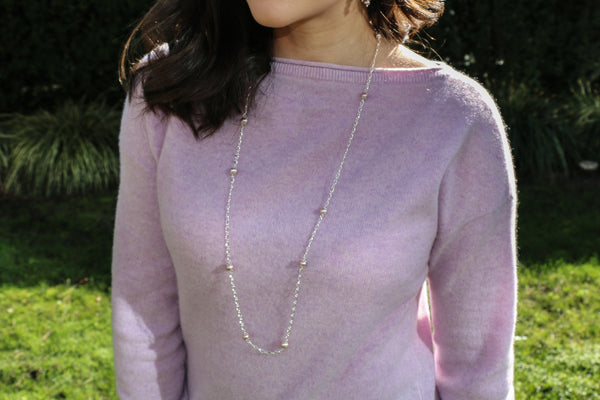 Lavender Blooms Dew Drop Pearl Silver Chain Necklace