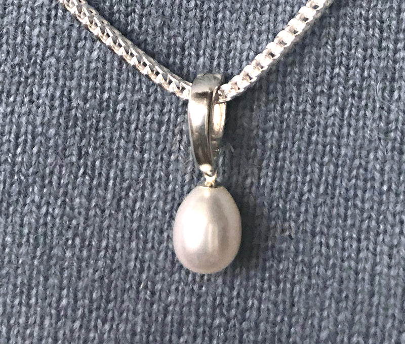 Anjou Pearl Sterling Silver Clip Pendant