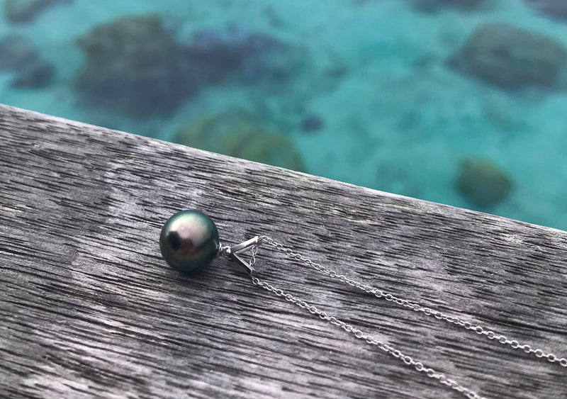 Tahitian Pearl 18kt White Gold Victory Pendant