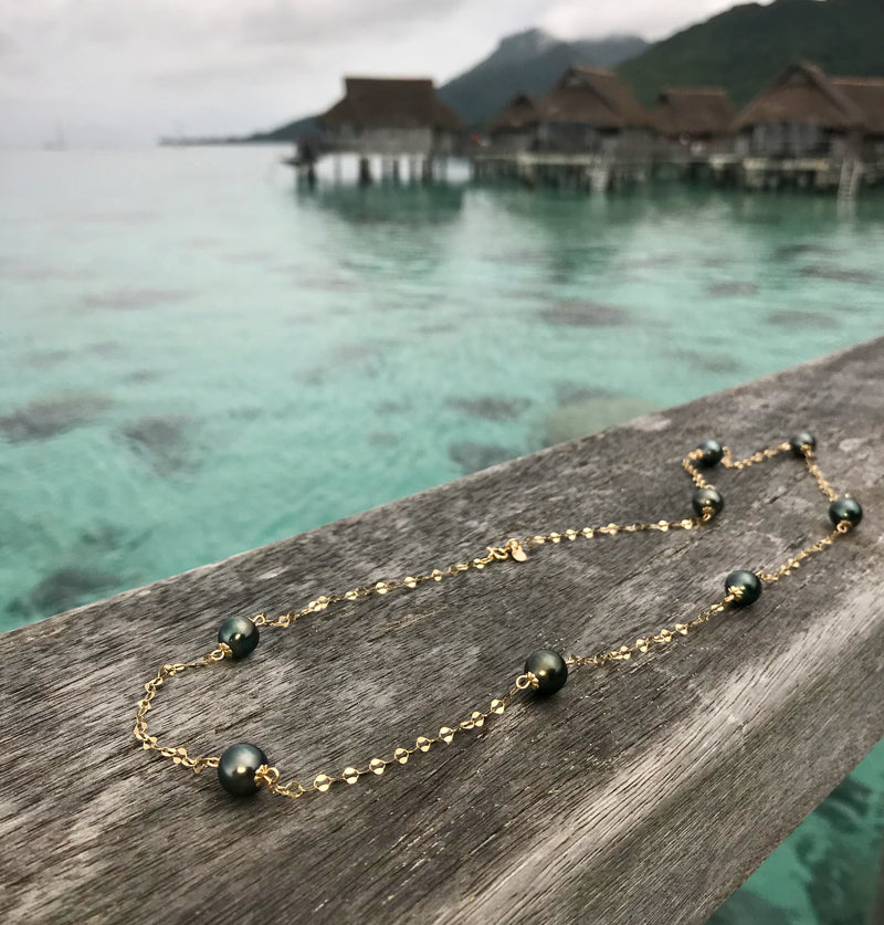 Tahitian Pearl Short Dew Drop Chain