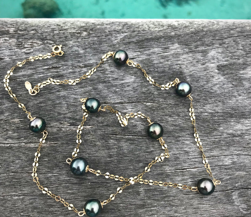 Tahitian Pearl Long Dew Drop Chain