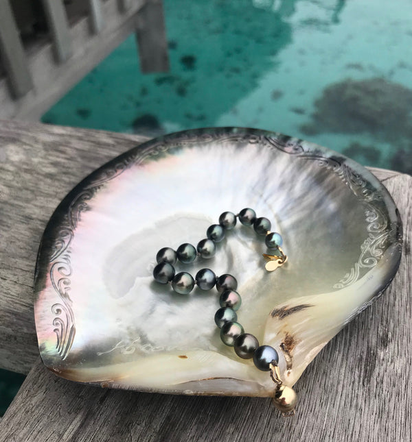 Tahitian Pearl Hand-Knotted Silk Bracelet