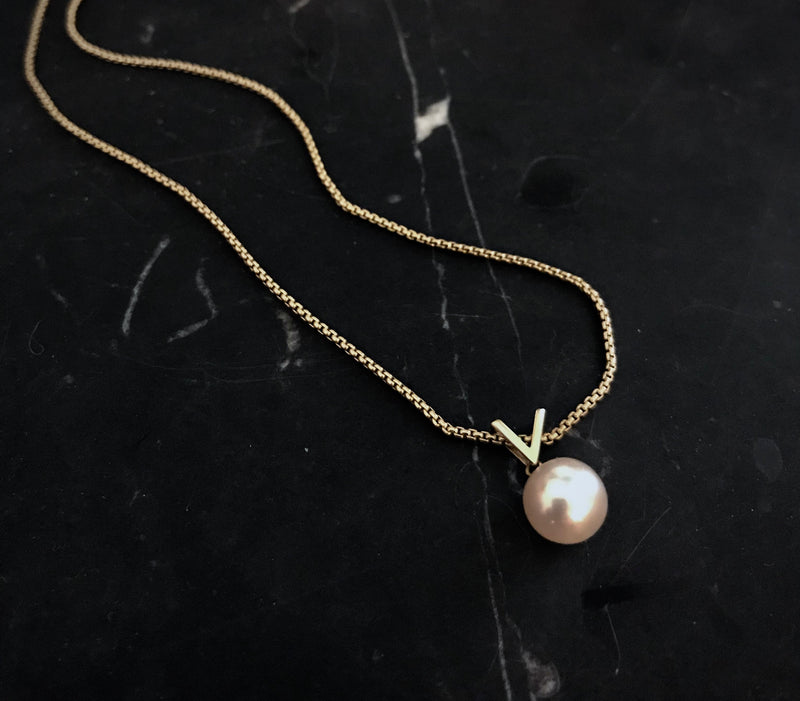 Akoya Pearl 18kt Gold Victory Pendant