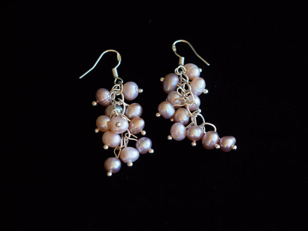 Lavender Blooms Pearl Berry Chandelier Earrings