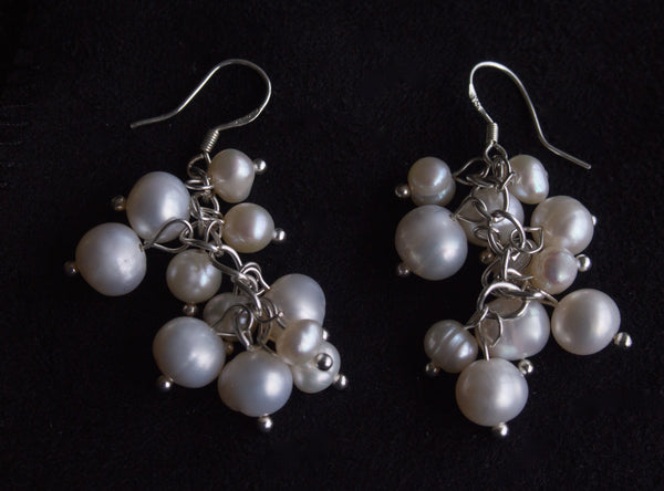 Classic White Pearl Berry Chandelier Earrings