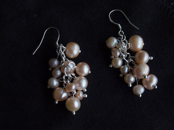 Rose Gold Pearl Berry Chandelier Earrings
