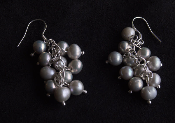 Dove Grey Pearl Berry Chandelier Earrings