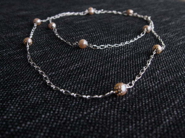 Rose Gold Dew Drop Pearl Silver Chain Necklace