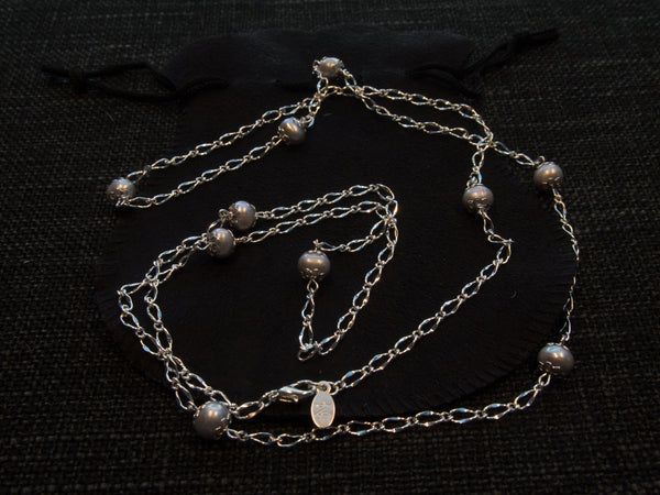 Dove Grey Dew Drop Pearl Silver Chain Necklace