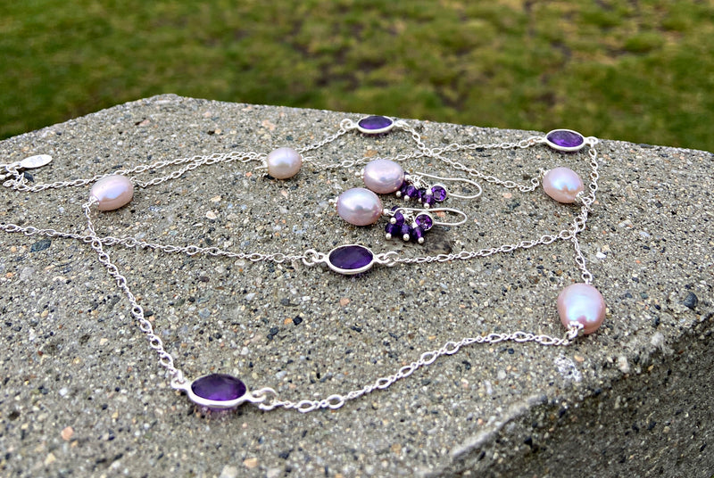 Petite Orchidée Amethyst Chain Necklace