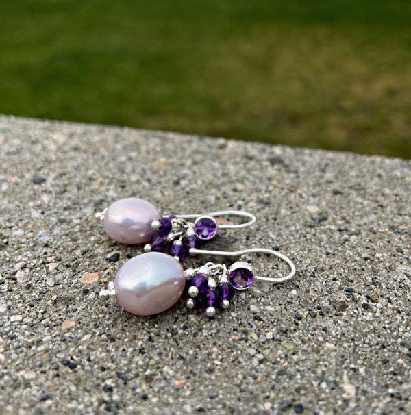 Petite Orchidée Amethyst Baroque Earrings