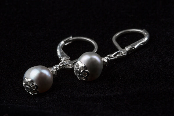 Dove Grey Pendent Earrings