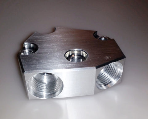 VH45DE Billet Oil Filter Relocation Block - V8SChassis