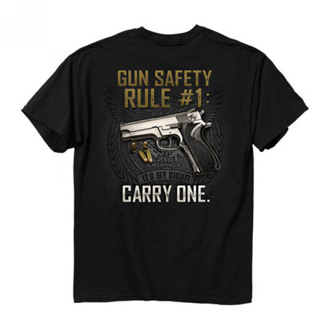 Buck Wear Gun Safety Rule Crew Neck T-Shirt Back